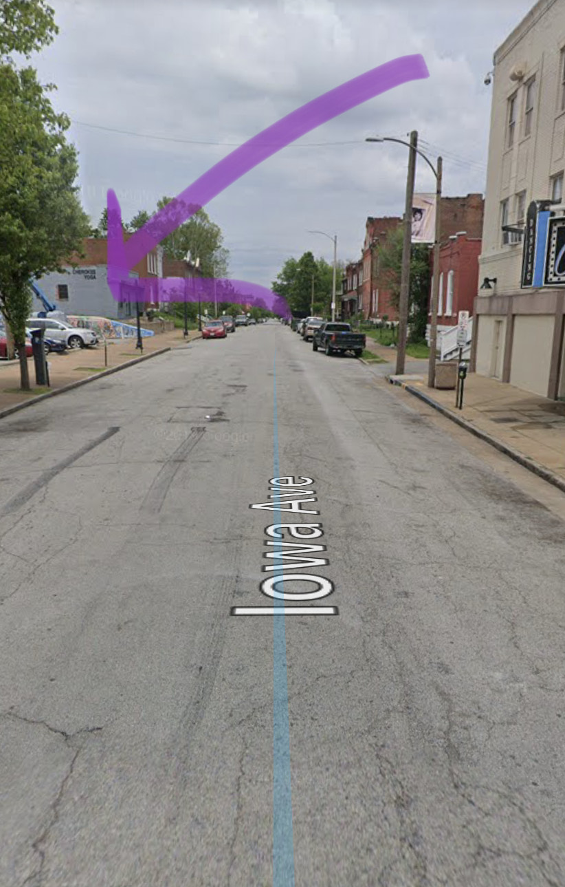 If I was standing at Cherokee and Iowa facing North :)